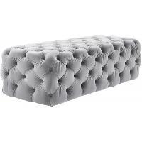 TOV Furniture Kaylee Jumbo Grey Velvet Ottoman
