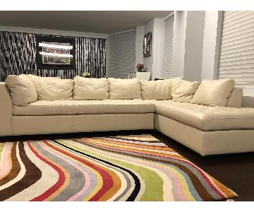Custom White Leather 2-Piece Sectional Sofa