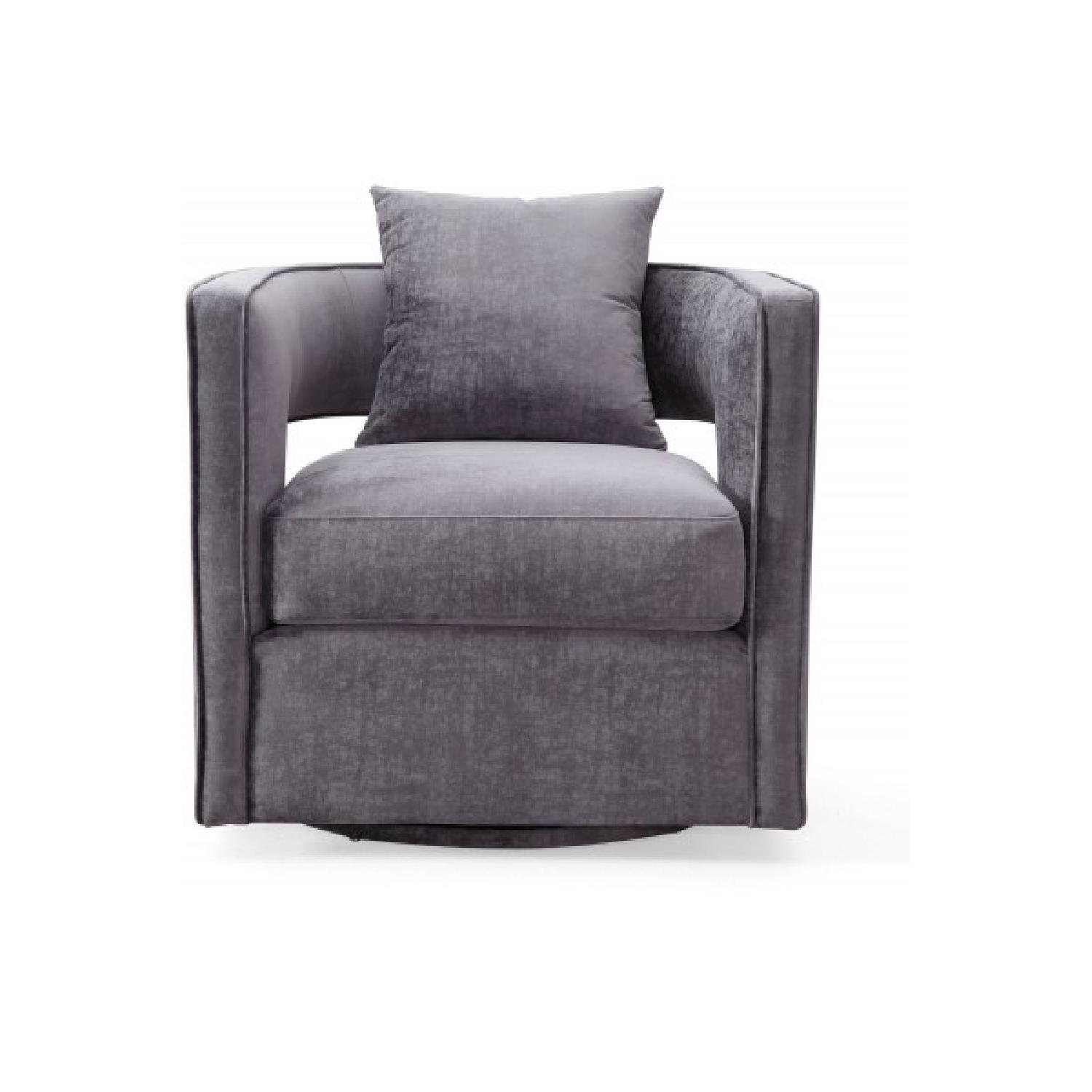 ... TOV Furniture Kennedy Grey Swivel Chair 1
