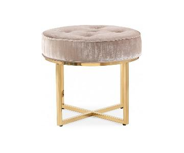 TOV Furniture Layla Grey Velvet Ottoman