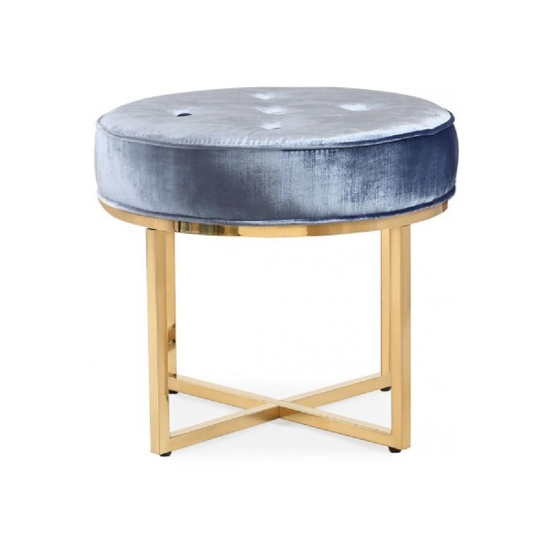 TOV Furniture Layla Shimmery Blue Velvet Ottoman