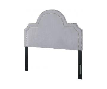 TOV Furniture Laylah Queen Headboard in Grey Velvet