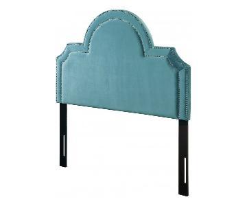 TOV Furniture Laylah Queen Headboard in Sea Blue Velvet