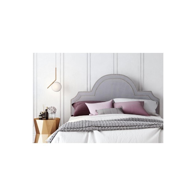 TOV Furniture Laylah Twin Headboard in Grey Velvet-0