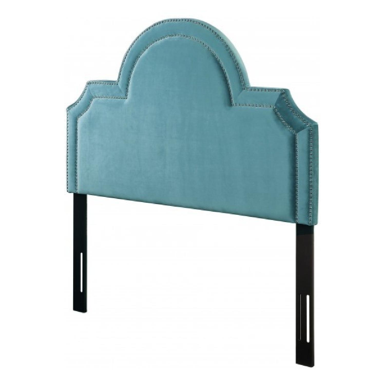 TOV Furniture Laylah Twin Headbaord in Sea Blue Velvet