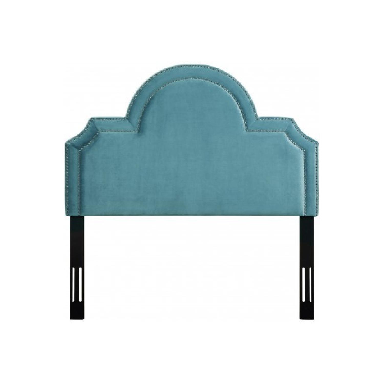 TOV Furniture Laylah Twin Headbaord in Sea Blue Velvet-1