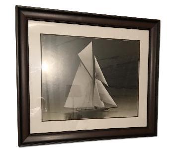 Sailboat in Black & White in Dark Wood Frame