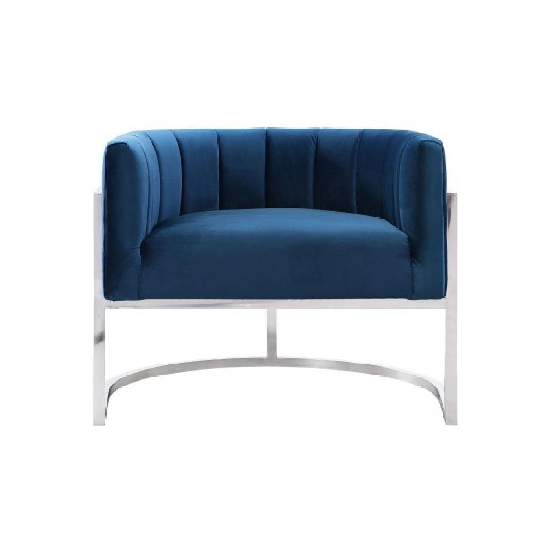 TOV Furniture Magnolia Navy Chair w/ Silver Base