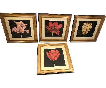 Macy's 4-Piece Gold & Black Framed Floral Prints