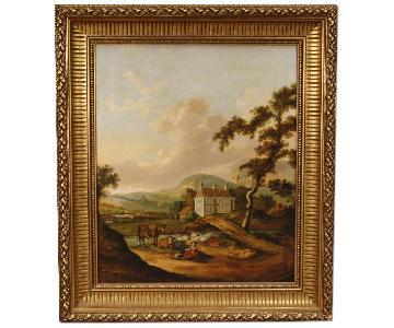 Dutch Painting Landscape w/ Characters & Architectures