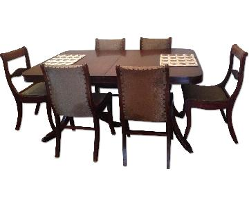 Antique Mahogany Duncan Phyfe Dining Table w/ 6 Chairs