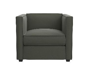 CB2 Dark Grey Velvet Club Accent Chair