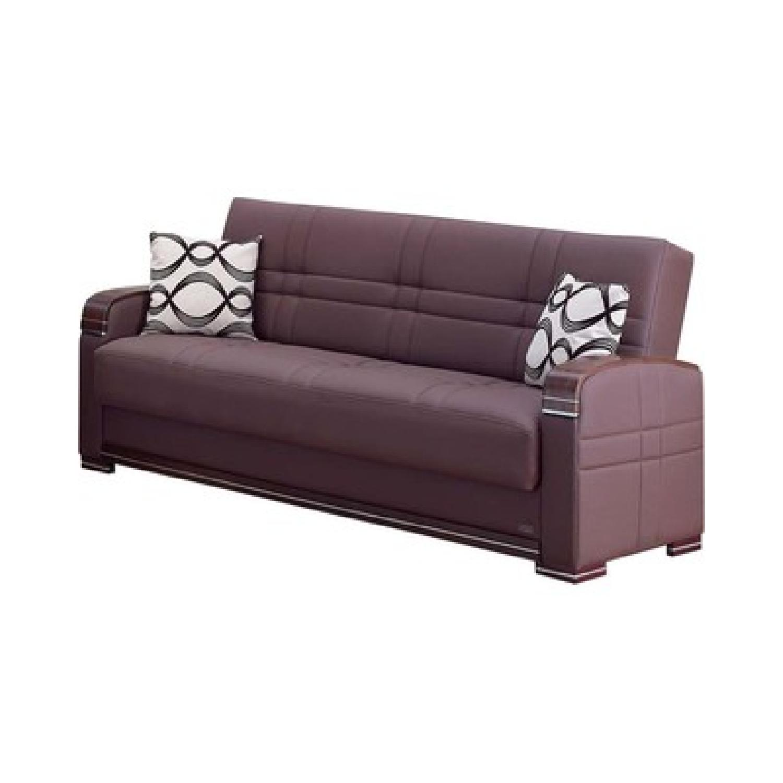 Modern Convertible Folding Sofa Bed In Dark Brown Aptdeco