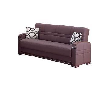 Modern Convertible Folding Sofa Bed in Dark Brown