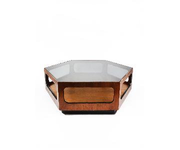 Lane Walnut & Smoked Glass Hexagonal Coffee Table