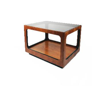 Lane Walnut & Smoked Glass Side Table