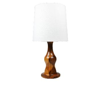 Mid-Century Modern Segmented Wood Table Lamp