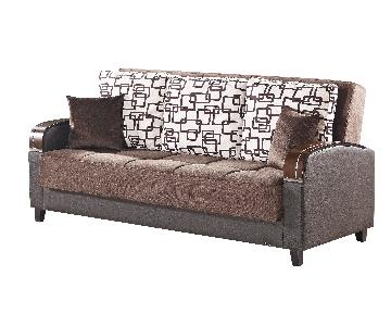 Convertible Sofa Bed in Chenille Fabric Vinyl & Wood Arms