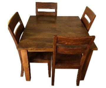 Crate & Barrel Basque Honey Square Table w/ 4 Chairs