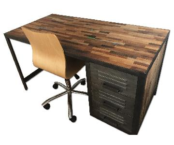 Reclaimed Distressed Wood & Industrial Metal Desk & Chair