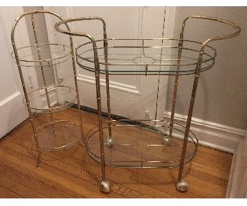 2-Piece Vintage Brass Bar Cart
