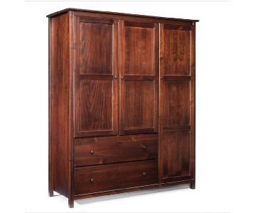 Grain Wood Furniture Shaker 3-Door Cherry Wood Armoire