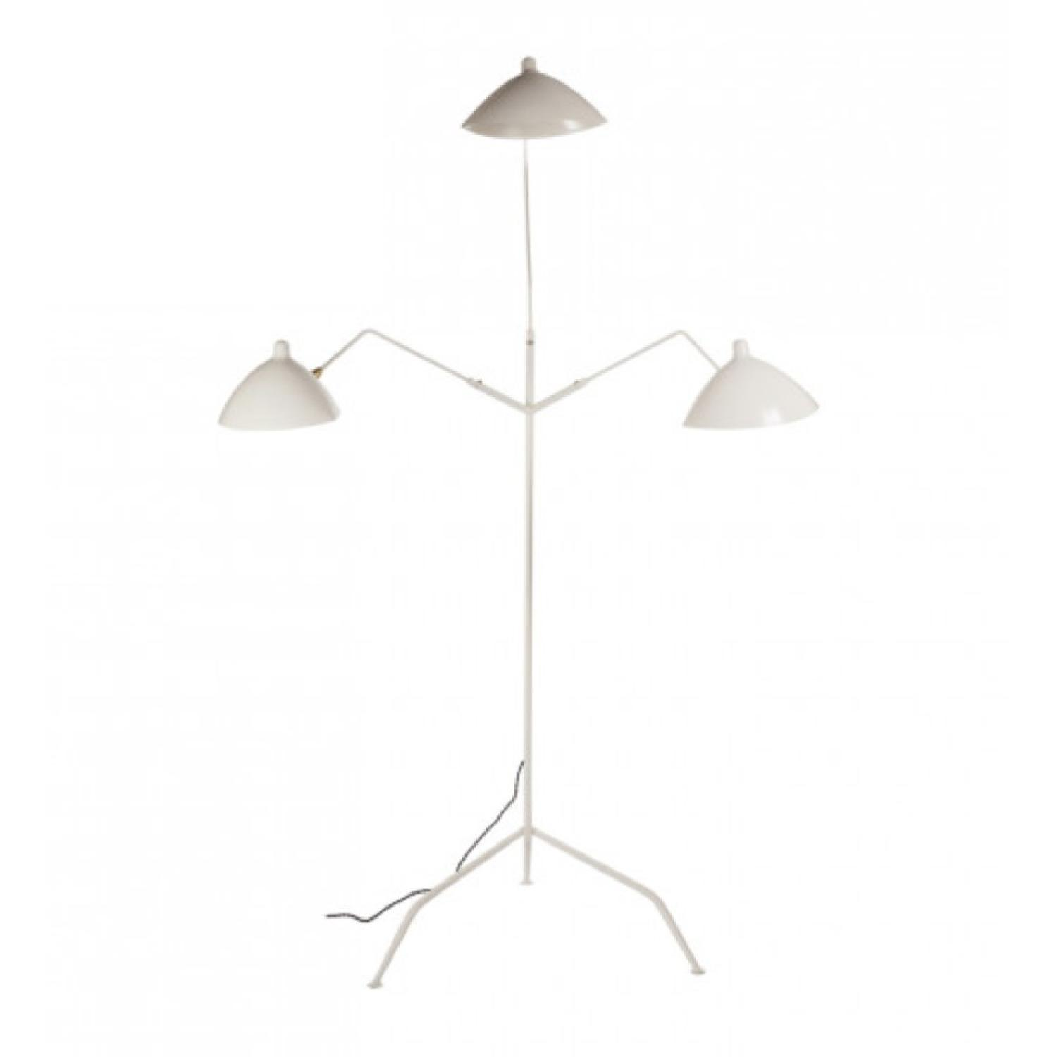 France and Son Three-Arm MFL-3 Standing Floor Lamp in White