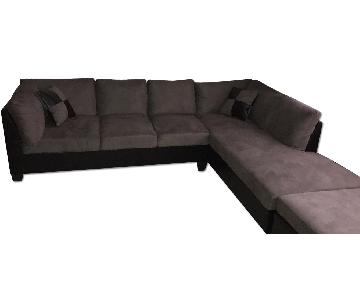 Gray Fabric 3-Piece Sectional Sofa
