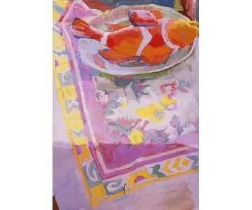Catherine Drabkin Painting - Festive Tablecloth with Fish