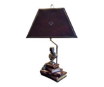 Maitland Smith Book Lamp w/ Leather Lamp Shade