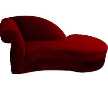 Vintage Deco Maroon Velvet Chaise