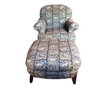 Henredon Upholstered Chair & Matching Ottoman