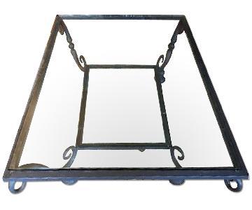 Bernhardt Modern Gray Metal & Glass Coffee Table