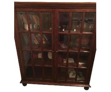 Macy's Mahogany Storage Cabinet w/ Beveled Glass Panels