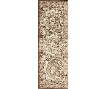 West Elm Distressed Brown Print Runner Rug