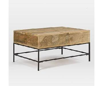 West Elm Small Industrial Storage Coffee Table in Raw Mango