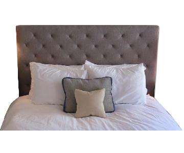 Queen Size Blue Tufted Headboard