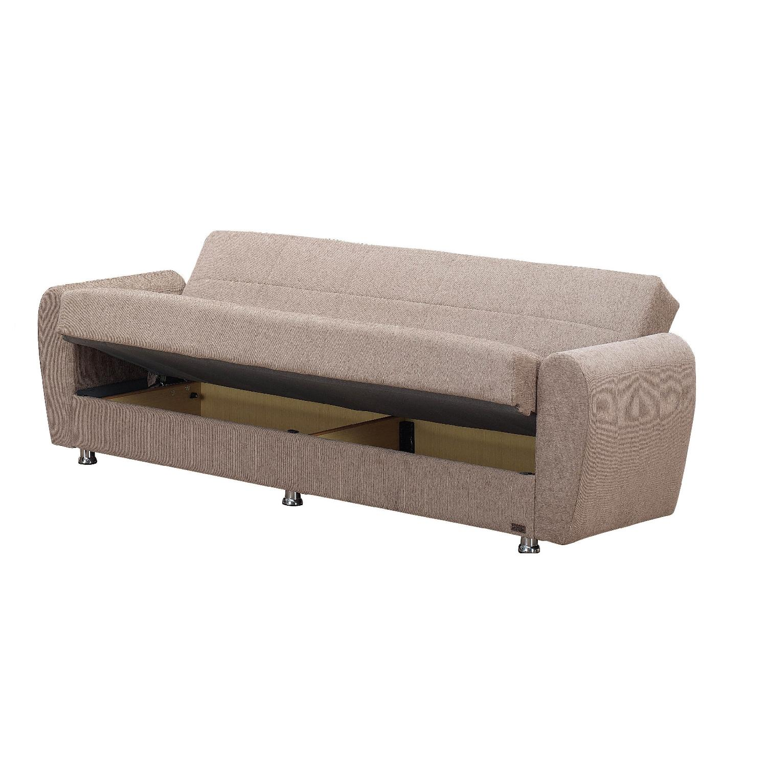 Convertible Storage Sofa Bed in Light Brown Color