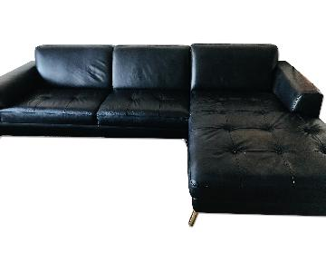 Australian Black Leather Sectional Couch
