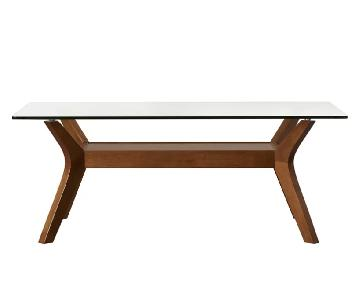 Mercury Row Aladfar Mid Century Glass-Top Coffee Table