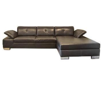 Macy's Gray Leather L-Shaped Sectional Sofa