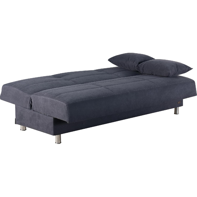 Contemporary Navy Blue Convertible Sofa Bed Aptdeco