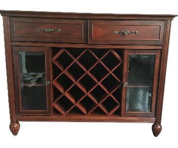 Raymour & Flanigan Cherry Wood Buffet w/ Wine Storage