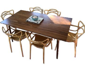Safavieh Gold Accented Walnut Dining Table w/ 6 Chairs