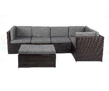 Outdoor Wicker 4-Piece Sectional Sofa