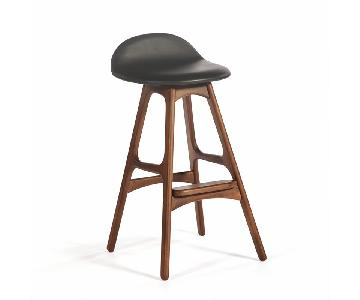 Inmod Erik Buch Walnut & Black Leather Counter Stool