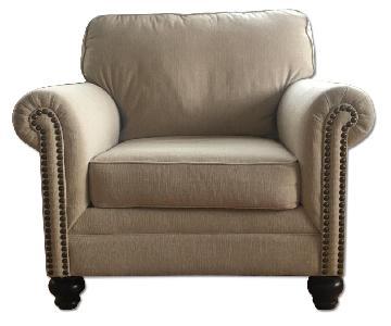 Beige Fabric Armchair w/ Nailheads