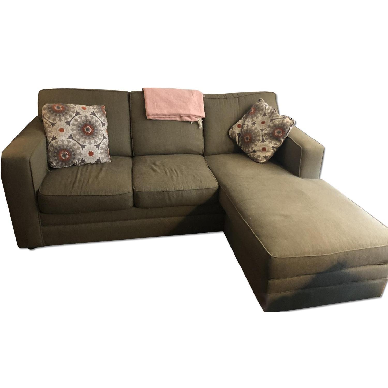 Green Sleeper Sectional Sofa W/ Chaise ...