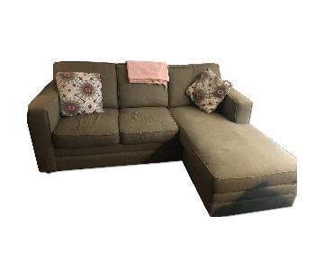 Green Sleeper Sectional Sofa w/ Chaise