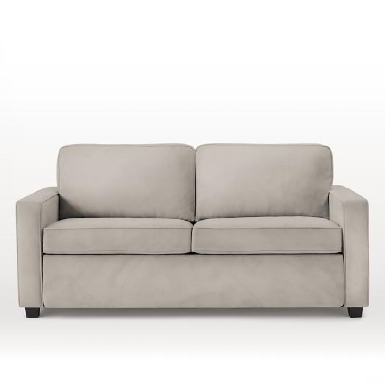 west elm henry deluxe queen sleeper sofa in grey velvet aptdeco